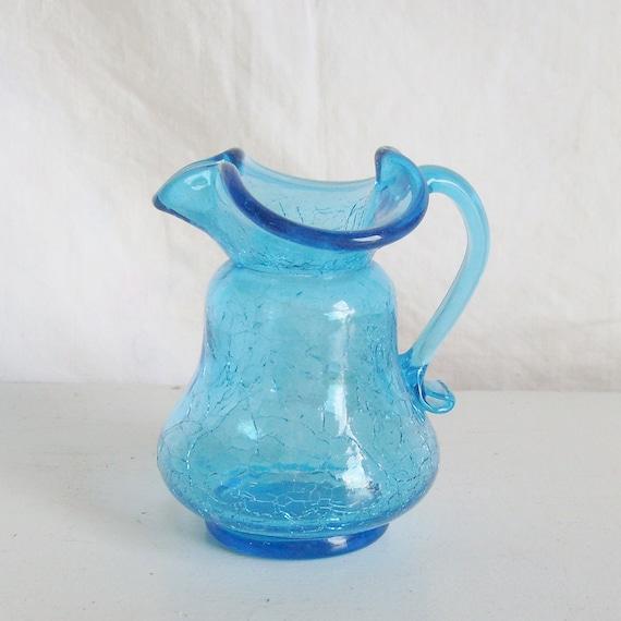 Vintage Crackle Glass Pitcher Blue Small Creamer