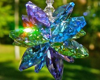 "Swarovski Crystal Cluster Suncatcher in Purple, Blue and Green - Window Decoration, Light Catcher ""ALLISON,"" 9"" Long- Heartstrings by Morgan"