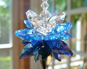 "Cluster of Black, Blue, and Clear Swarovski Crystals,Crystal Hanger for Home or Car, Sun Catcher, Car Charm, Rainbow Maker - ""MIDNIGHT BLUE"""