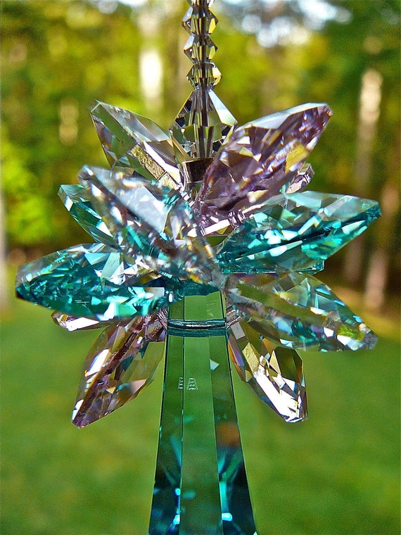"""DISCONTINUED 50mm teal Swarovski Pencil Drop Pendant Topped with Cluster of Aqua, Pink and Clear Octagons, Rainbow Maker - 9.5"""" Long"""