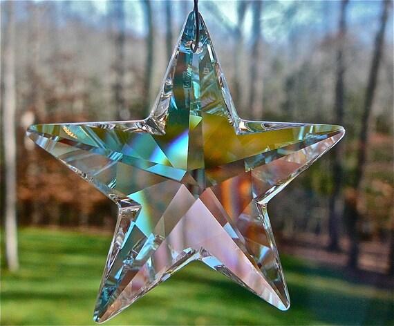 Retired Large Swarovski AB Star, Swarovski Crystal Suncatcher, Celeste AB,  with 50mm Swarovski Crystal AB Star and Swarovski Crystal Beads.