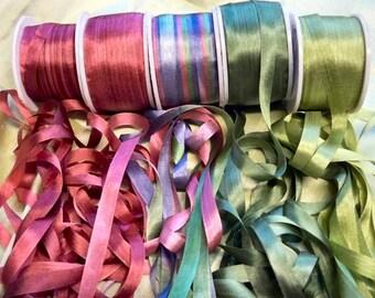 Magenta Colorway 25 yards 7mm assortment Silk Ribbon pack