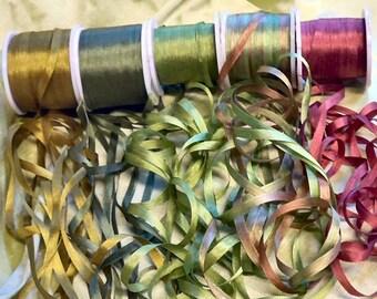 Silk Ribbon 25 yards 7mm width Moss colorway