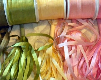 25 yards 7mm silk ribbon Spring colorway 5 yards each of 5 colors.