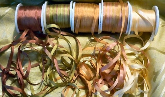 25 yards of 7mm silk ribbon  in the Old Rose colorway