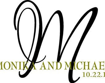 Monogram His and Hers Names with Last Initial and Wedding Date Vinyl Lettering