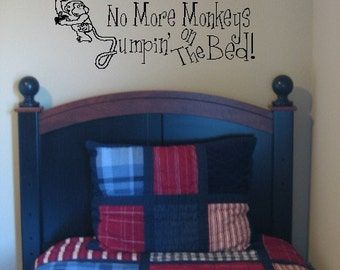No More Monkeys Jumpin' on The Bed Wall Art Vinyl Letters Decal Sticker