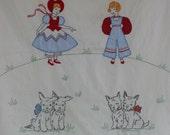 Vintage Baby Blanket Wall Bedding Crib Sheet Child Embroidered Scottie Dog Terrier Nursery Decor