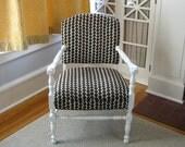 Vintage Upholstered Chair Wood Brown Polka Dot Furniture