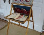 Vintage Chalkboard Easel Clock Children Wood Toy Stand Display Craft
