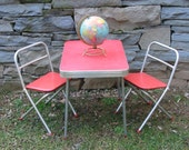 RESERVED.....SET of Child-Sized Retro Children Metal Folding Red Chairs and Table