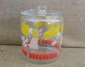 Vintage Glass Jar Canister Child Bunny Baby Nursery Decor