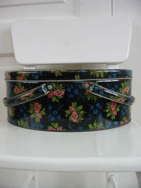 Vintage Metal Basket Box Biscuit Tin Flowers Black
