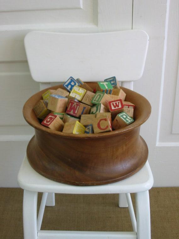 Vintage Blocks Wood Children Nursery Decor Letters Alphabet
