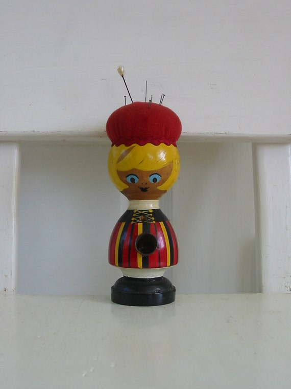 Vintage Girl Pin Cushion Wood Kitsch Sewing