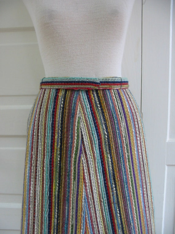 RESERVED.....Woman Long Skirt Clothing Stripes Wool Vintage