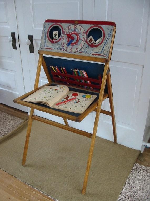 Vintage Chalkboard Easel Clock Children Wood Toy Stand Display