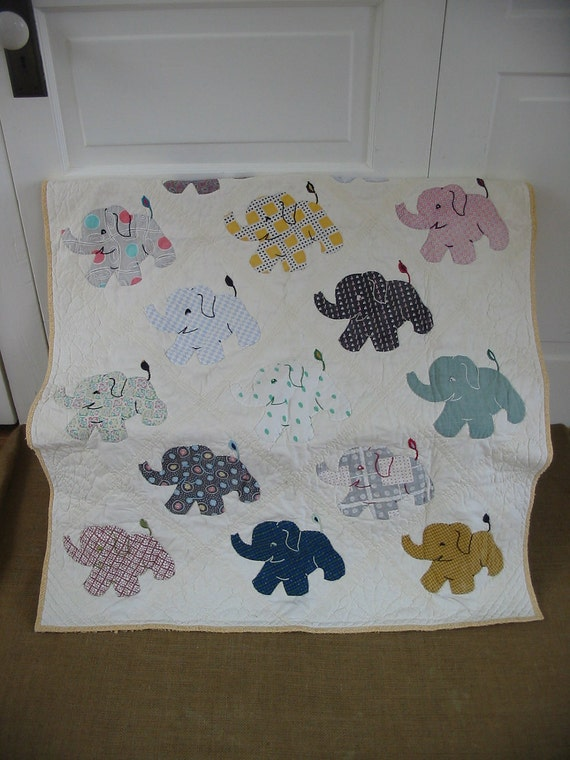 Vintage Baby Blanket Elephant Children Boy Girl Quilt Bedding