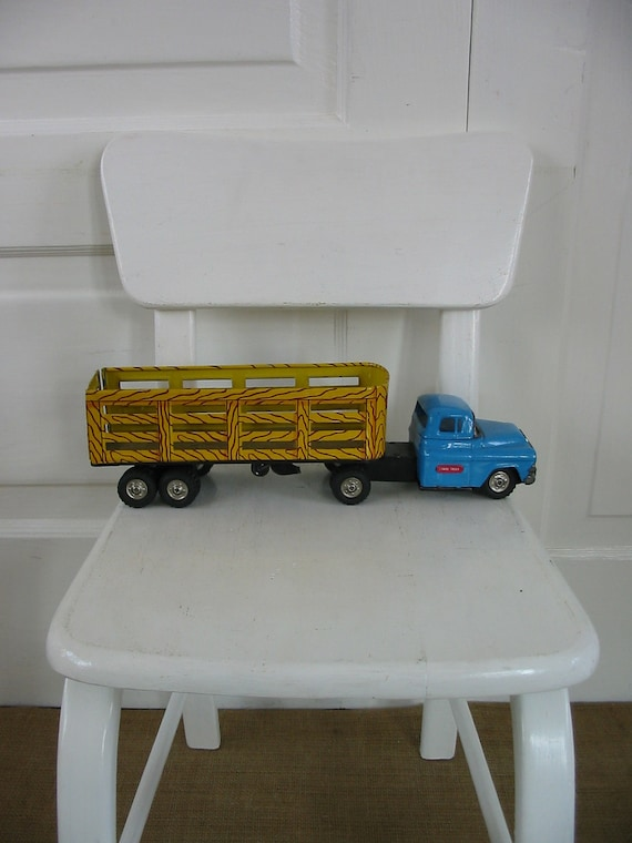 Metal Toy Truck Industrial Blue Children Boy Litho Linemar Stake Vintage