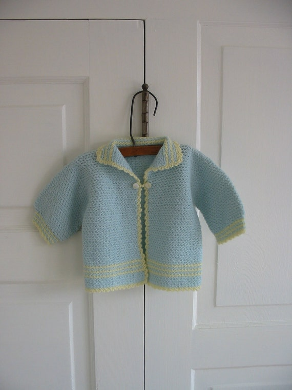 Baby Infant Sweater Clothing Children Blue Yellow Unisex Boy Girl Vintage