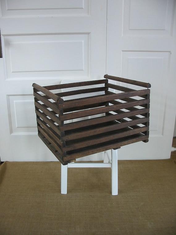 Vintage Box Wood Industrial Primitive Rustic Egg Crate Storage