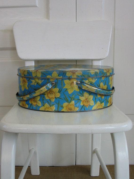Metal Basket Box Tin Daffodil Yellow Flower Storage Spring Easter