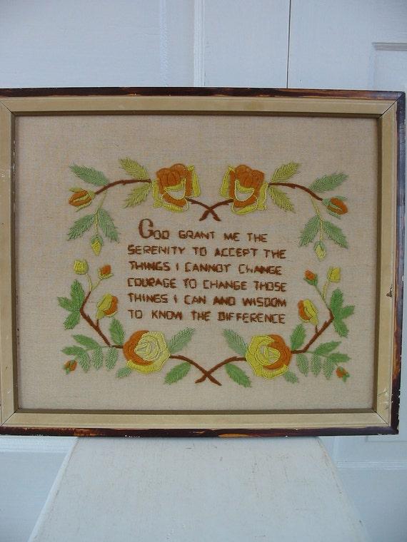 Needlepoint Embroidery Hand Sewn Framed God Art