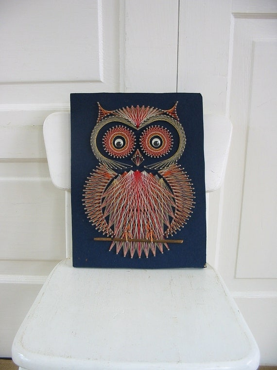 Kitsch String Art Owl Bird Nursery Decor Sixties Wall Hanging