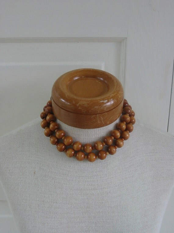 Vintage Necklace Jewelry Wood Bead Long Choker