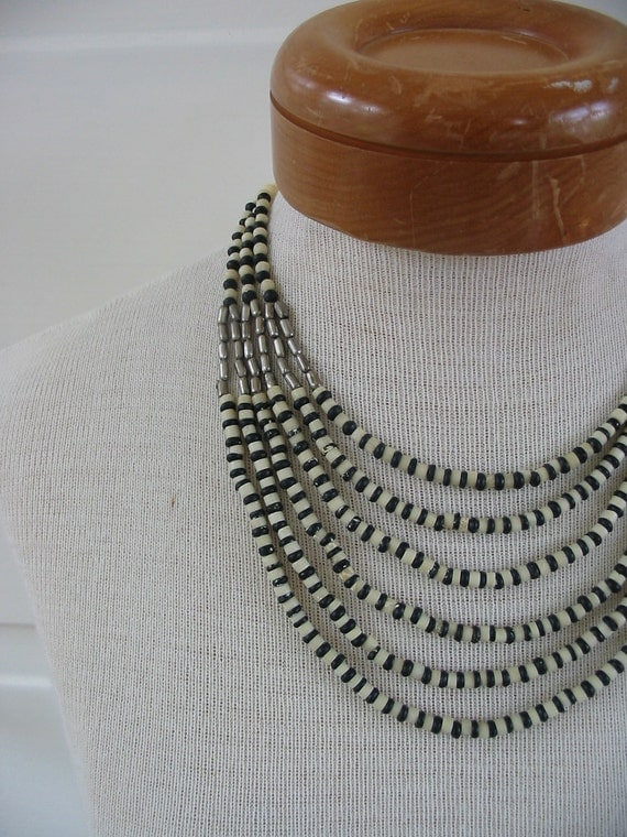 Necklace Jewelry Vintage Multiple strands Black and White Bone SIlver