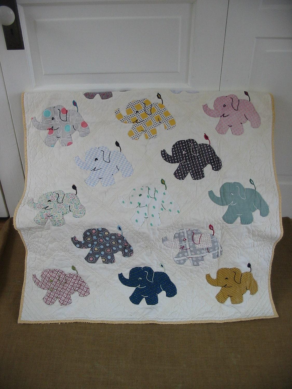 Vintage Baby Blanket Elephant Children Boy Girl Quilt Bedding