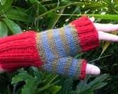 Striped Wool Fingerless Mittens
