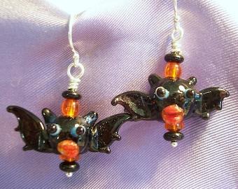 Pucker Up Bat Lampwork Glass Earrings