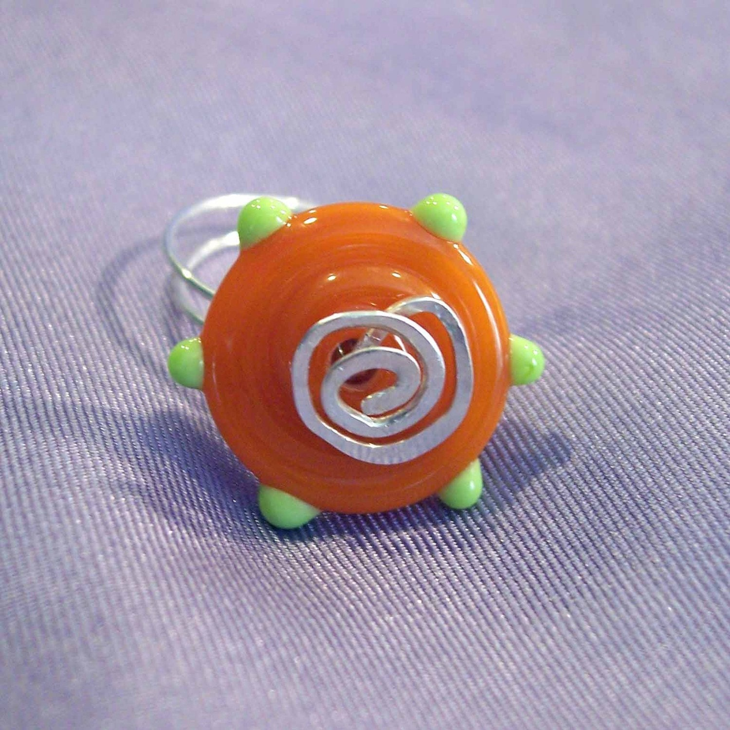 Orange And Lime Green Art Glass Wire Wrapped Ring Size 8