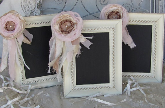 Chalk Board Frame Shabby Chic Ivory, PInk and Latte set of 3