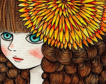 Flower girl  - Signed Archival Print, by Ani Castillo.