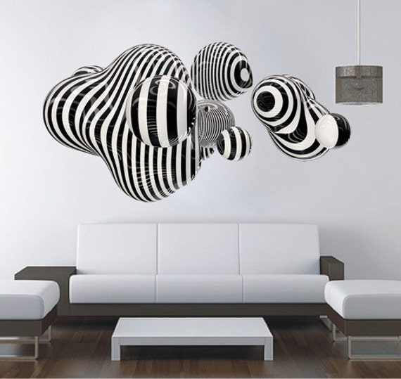 Items similar to 3d shape wall art for housewares in vinyl - Stickers muraux salon ...