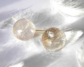 Rutilated Quartz better than a Pearl Earring with 14k Gold