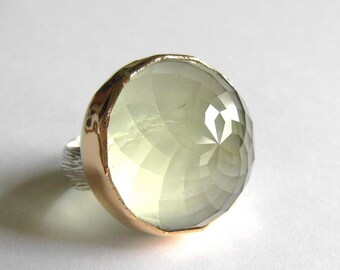 Praisolite Dome Ring, High dome gemstone, Handmade with Recycled 14k Gold and Silver, Made to Order