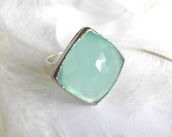 Aqua Blue Chalcedony LaFEMME Diamond Shape Ring, handmade from recycled 14k Gold and Sterling Silver