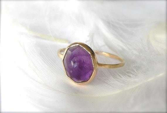 RESERVED For HILARY : Amethyst Petite Stacking Gemstone Ring Handcrafted from Recycled 14k Gold by Michelle Lenae Jewelry