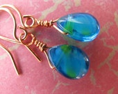 Tropical Blue Briolettes and Copper Earrings