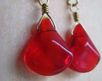 Ruby Red Triangle Earrings, Red and Gold Triangle Earrings