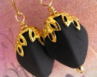 Black Satin Oval Earrings