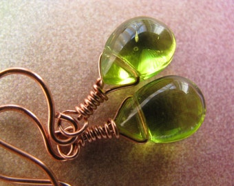 Moss Green Teardrops and Bright Copper Earrings