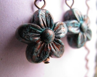 Turquoise Patina Flower and Copper Earrings