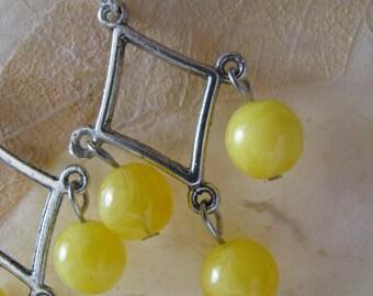 Sunshine Yellow Silver Chandelier Earrings