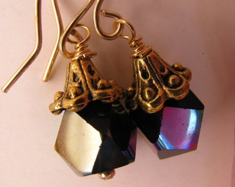 Black Rainbow Sheen Cubes and Antique Gold Earrings