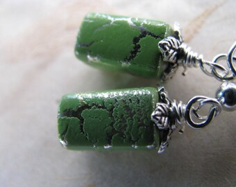 Green Parched Earth and Silver Earrings