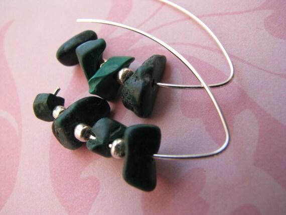Malachite Vee Earrings